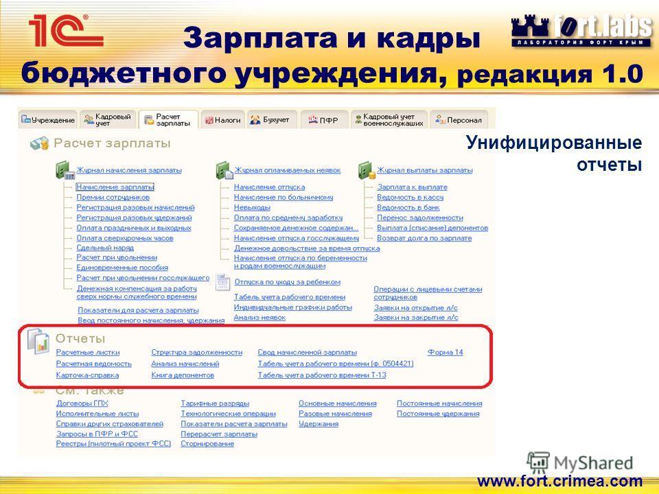 Зарплата и кадры бюджетного учреждения, редакция 1.0 www.fort.crimea.com Унифицированные отчеты