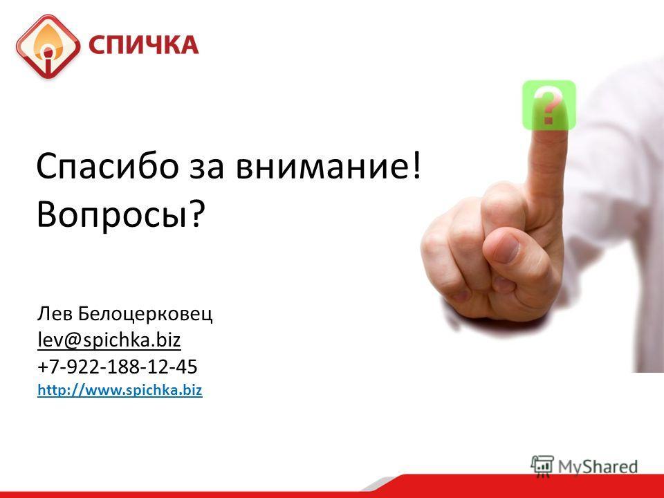 Спасибо за внимание! Вопросы? Лев Белоцерковец lev@spichka.biz +7-922-188-12-45 http://www.spichka.biz