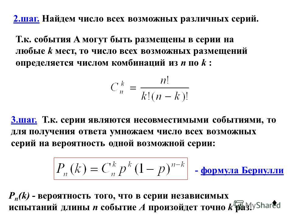 2.шаг. Найдем число всех возможных различных серий. Т.к. события A могут быть размещены в серии на любые k мест, то число всех возможных размещений определяется числом комбинаций из n по k : 3.шаг. Т.к. серии являются несовместимыми событиями, то для