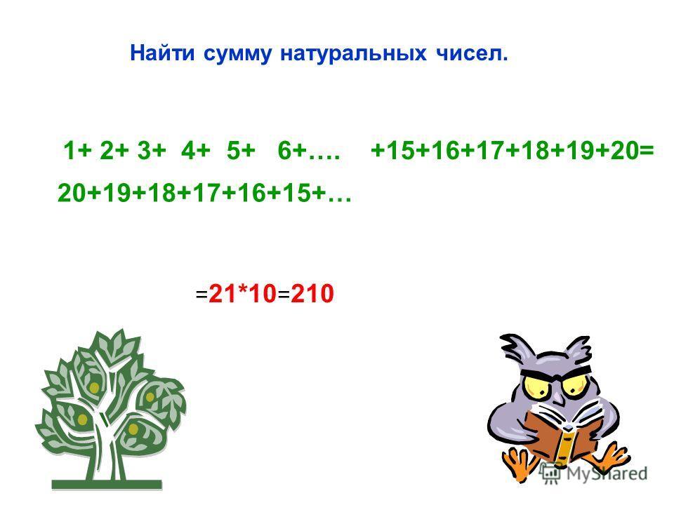 Найти сумму натуральных чисел. 1+ 2+ 3+ 4+ 5+ 6+….+15+16+17+18+19+20= = 21*10 = 210 20+19+18+17+16+15+…