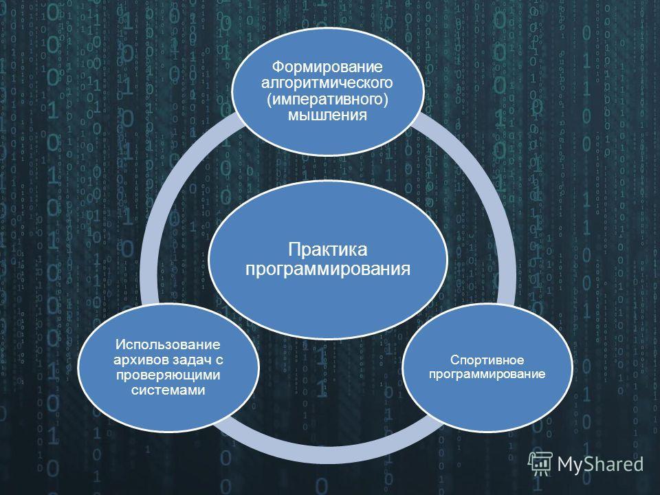 Практика программирования Формирование алгоритмического (императивного) мышления Спортивное программирование Использование архивов задач с проверяющими системами