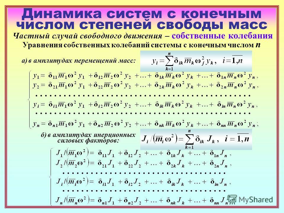Динамика систем с конечным числом степеней свободы масс Частный случай свободного движения – собственные колебания Уравнения собственных колебаний системы с конечным числом n................................... а) в амплитудах перемещений масс: б) в а