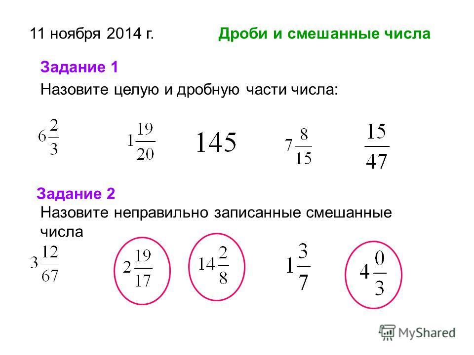 11 ноября 2014 г. Дроби и смешанные числа Назовите целую и дробную части числа: Задание 1 Задание 2 Назовите неправильно записанные смешанные числа