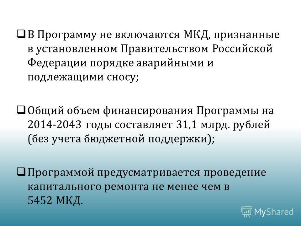 В Программу не включаются МКД, признанные в установленном Правительством Российской Федерации порядке аварийными и подлежащими сносу; Общий объем финансирования Программы на 2014-2043 годы составляет 31,1 млрд. рублей (без учета бюджетной поддержки);