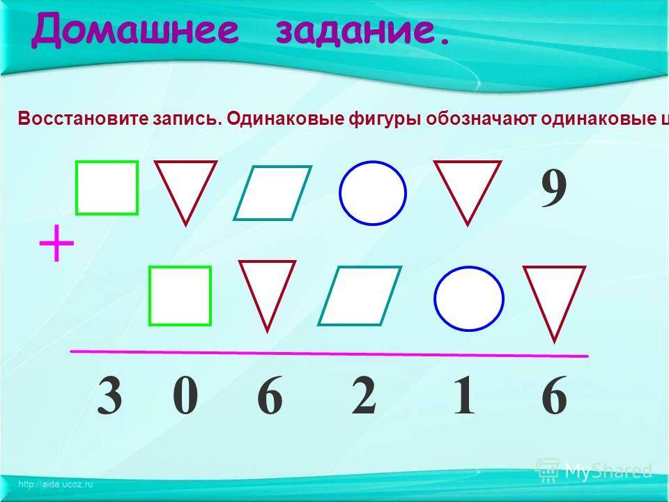 Домашнее задание. Восстановите запись. Одинаковые фигуры обозначают одинаковые цифры. 612603 9