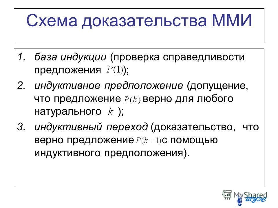 Схема доказательства ММИ 1. база индукции (проверка справедливости предложения ); 2. индуктивное предположение (допущение, что предложение верно для любого натурального ); 3. индуктивный переход (доказательство, что верно предложение с помощью индукт