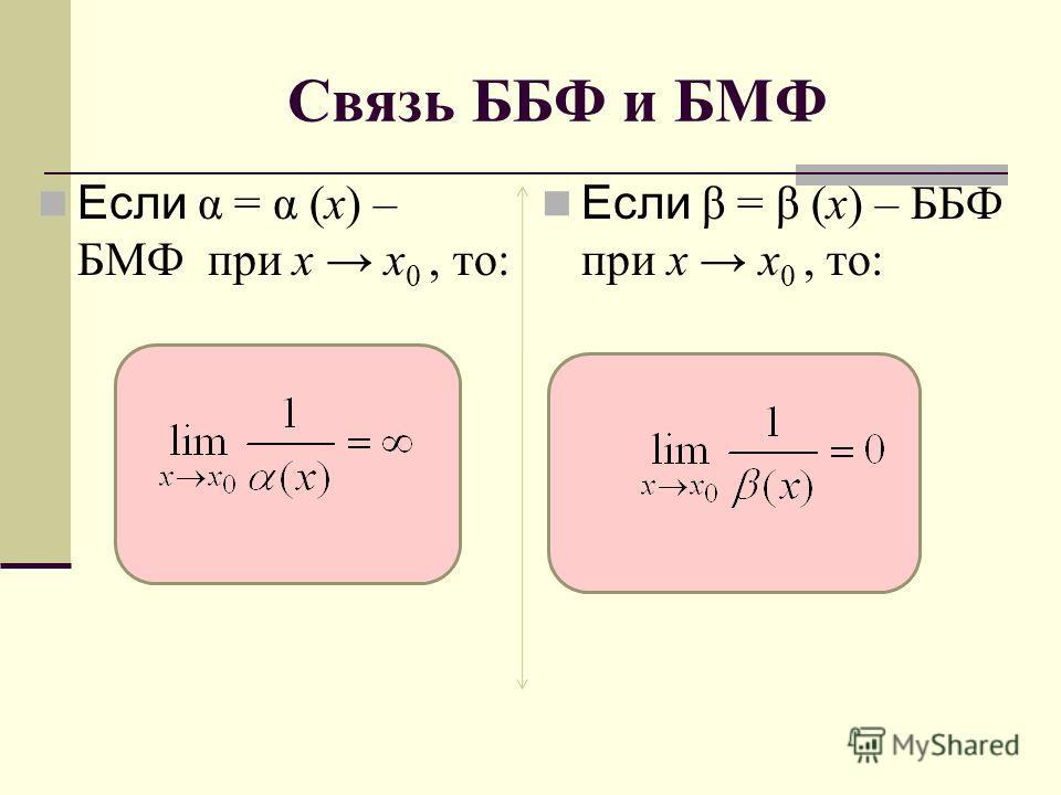 Связь ББФ и БМФ Если α = α (x) – БМФ при x x 0, то: Если β = β (x) – ББФ при x x 0, то: