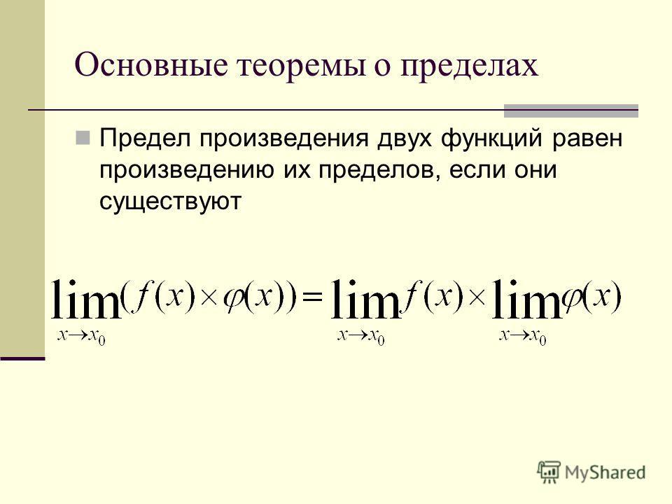 Основные теоремы о пределах Предел произведения двух функций равен произведению их пределов, если они существуют