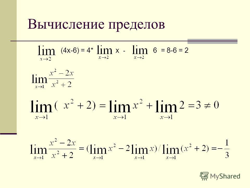 Вычисление пределов (4 х-6) = 4*х - 6 = 8-6 = 2