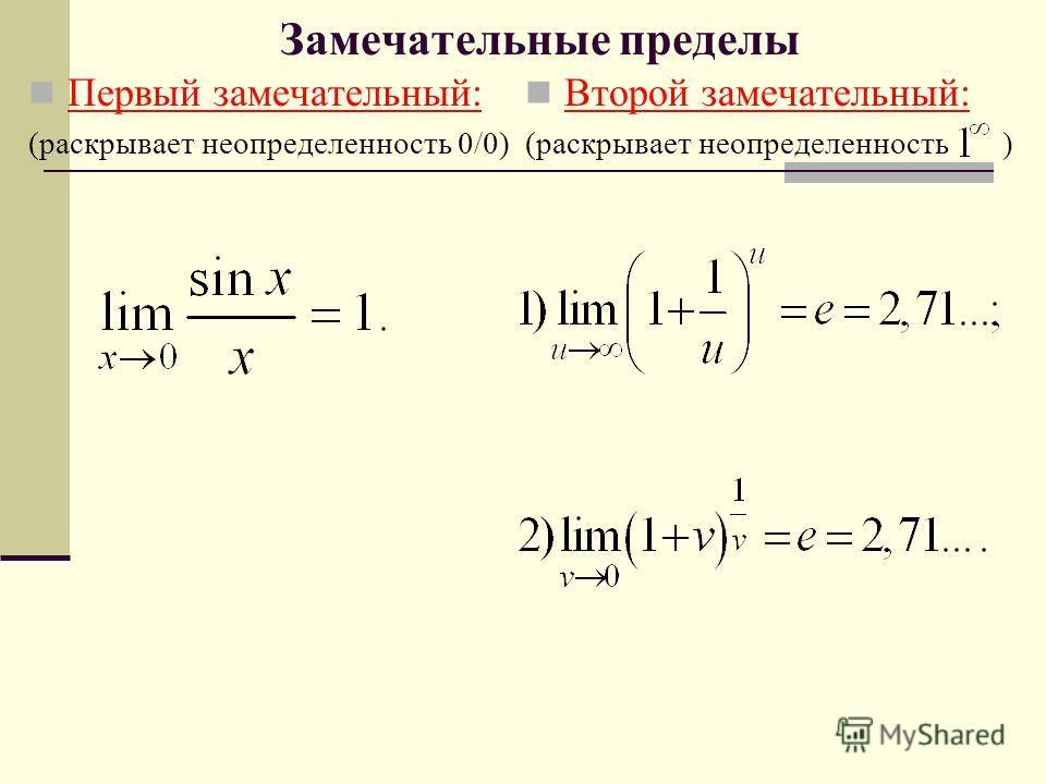 Замечательные пределы Первый замечательный: (раскрывает неопределенность 0/0) Второй замечательный: (раскрывает неопределенность )