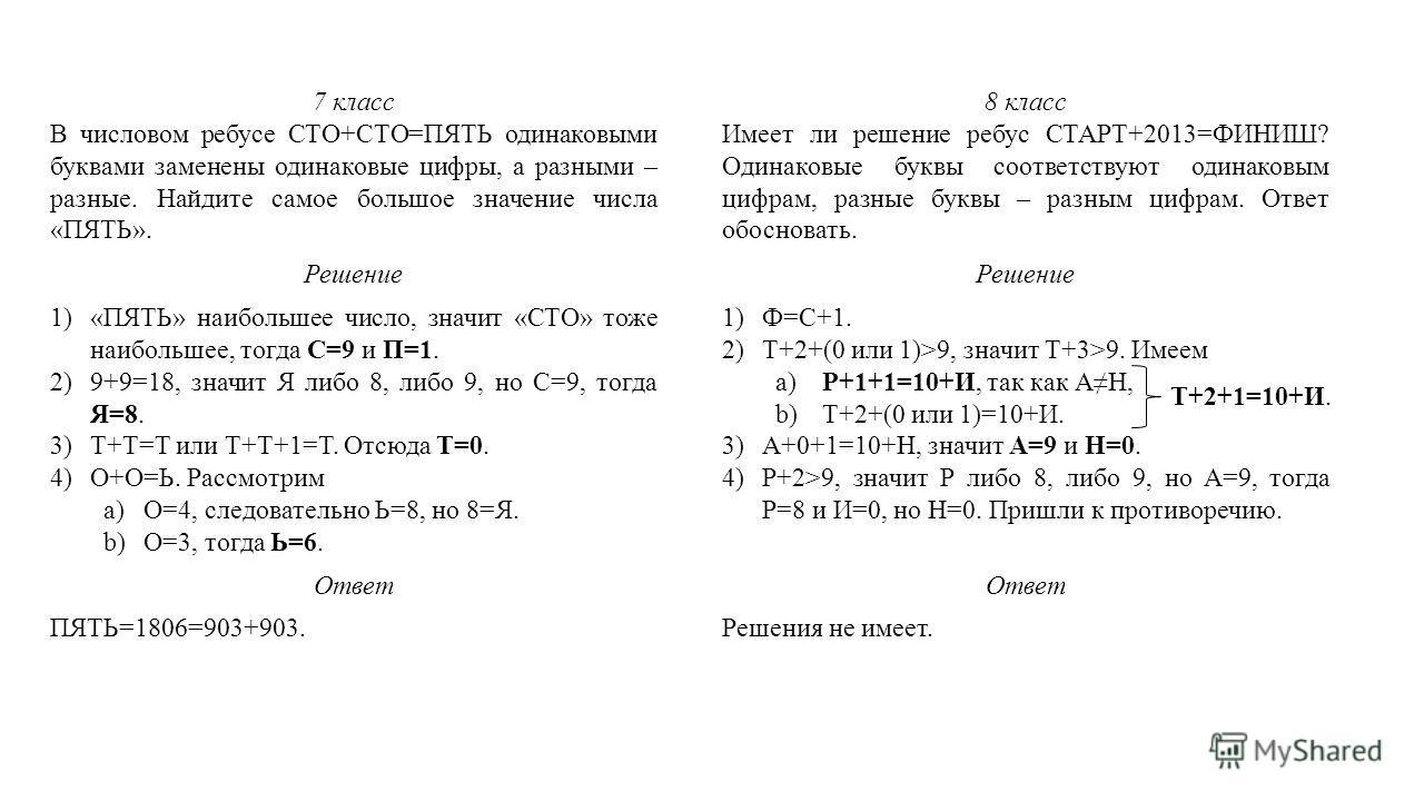 7 класс В числовом ребусе СТО+СТО=ПЯТЬ одинаковыми буквами заменены одинаковые цифры, а разными – разные. Найдите самое большое значение числа «ПЯТЬ». Решение 1)«ПЯТЬ» наибольшее число, значит «СТО» тоже наибольшее, тогда С=9 и П=1. 2)9+9=18, значит