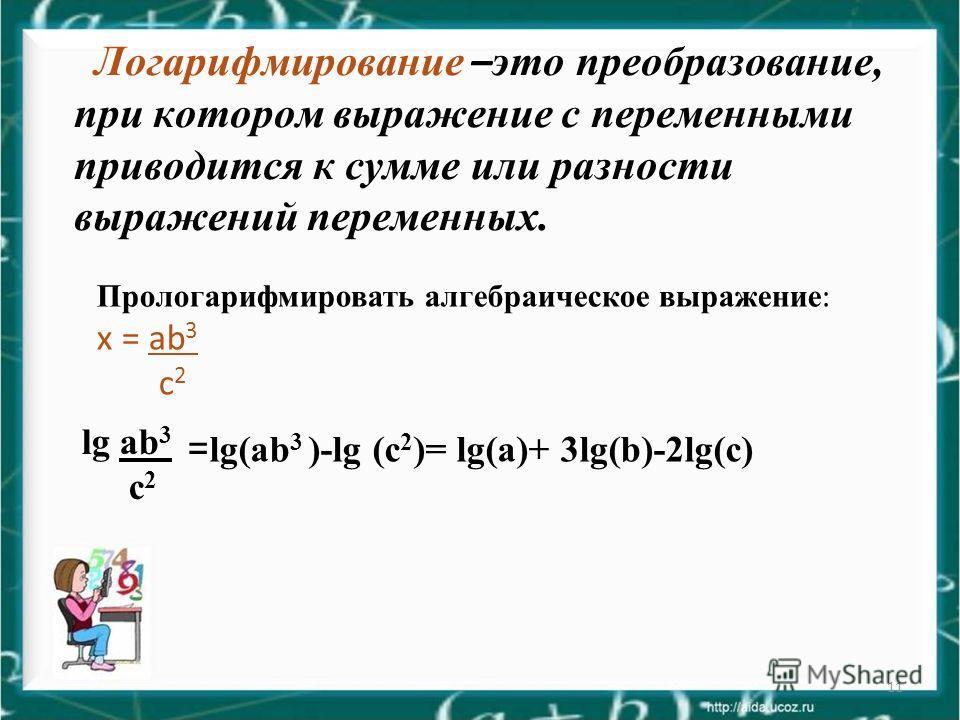 11 Логарифмирование – это преобразование, при котором выражение с переменными приводится к сумме или разности выражений переменных. Прологарифмировать алгебраическое выражение : х = ab 3 c 2 = lg(ab 3 )-lg (c 2 )= lg(a)+ 3lg(b)-2lg(c) lg ab 3 c 2