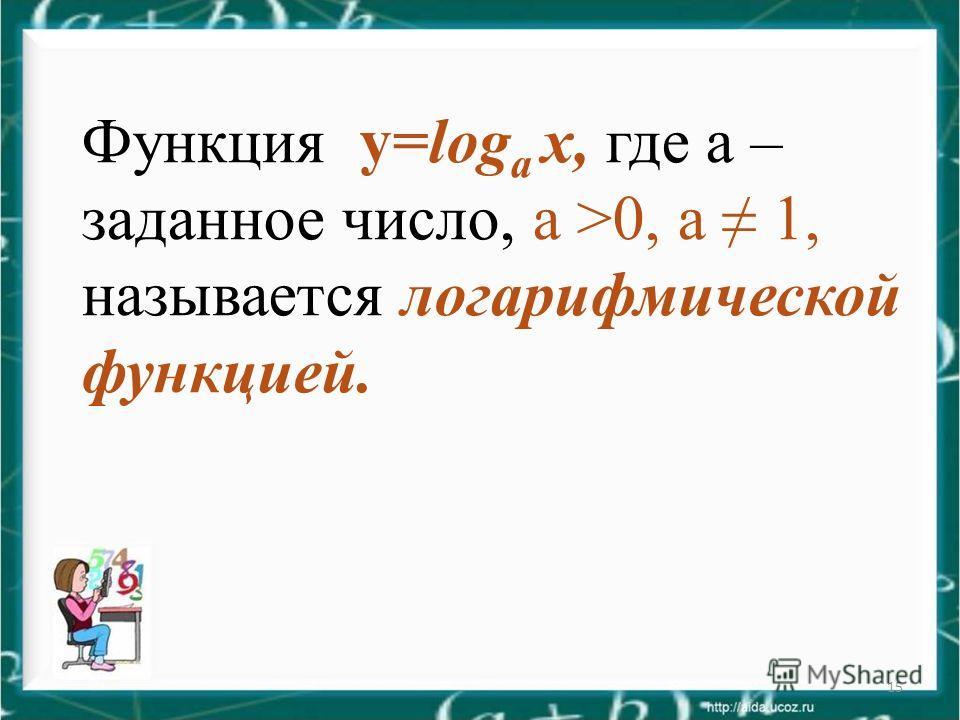 15 Функция у=log а х, где а – заданное число, а >0, а 1, называется логарифмической функцией.