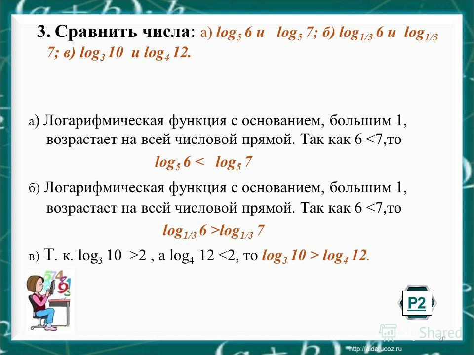 20 3. Сравнить числа : а) log 5 6 и log 5 7; б) log 1/3 6 и log 1/3 7; в) log 3 10 и log 4 12. а ) Логарифмическая функция с основанием, большим 1, возрастает на всей числовой прямой. Так как 6 2, а log 4 12 log 4 12. Р2