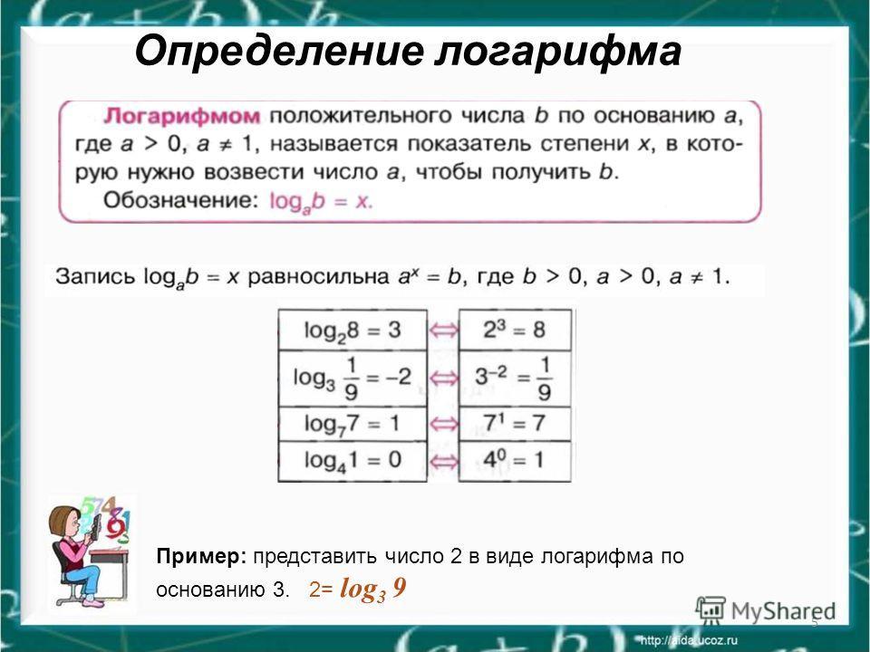 5 Определение логарифма Пример: представить число 2 в виде логарифма по основанию 3. 2= log 3 9