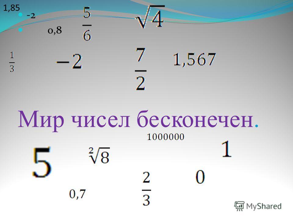 -2 0,8 Мир чисел бесконечен. 1,85