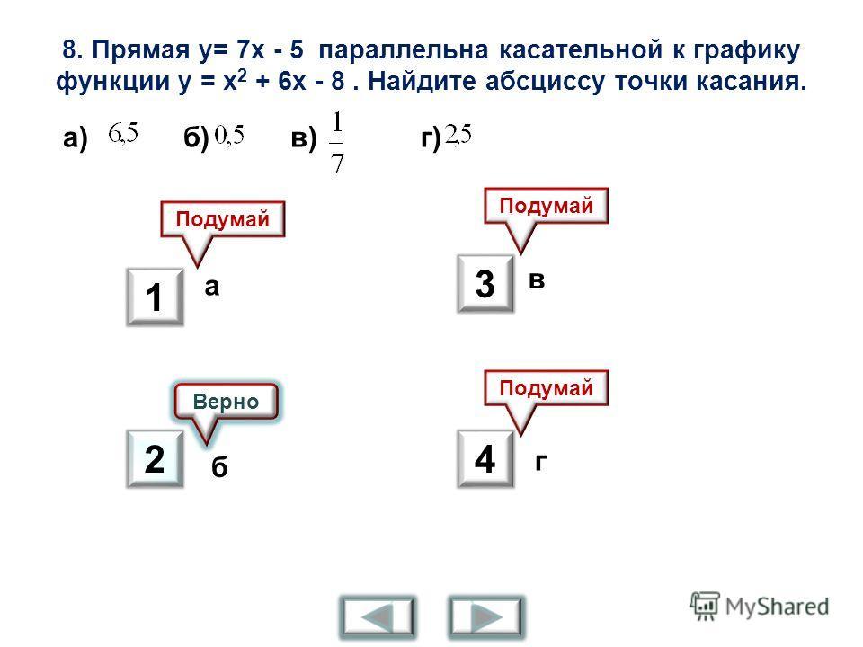 8. Прямая у= 7 х - 5 параллельна касательной к графику функции у = х 2 + 6 х - 8. Найдите абсциссу точки касания. а) б) в) г) Верно Подумай а б в г 1 2 3 4