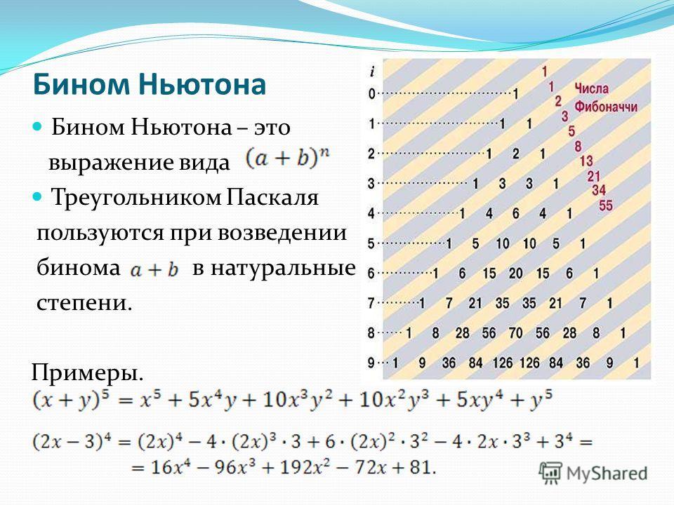 Бином Ньютона Бином Ньютона – это выражение вида Треугольником Паскаля пользуются при возведении бинома в натуральные степени. Примеры.