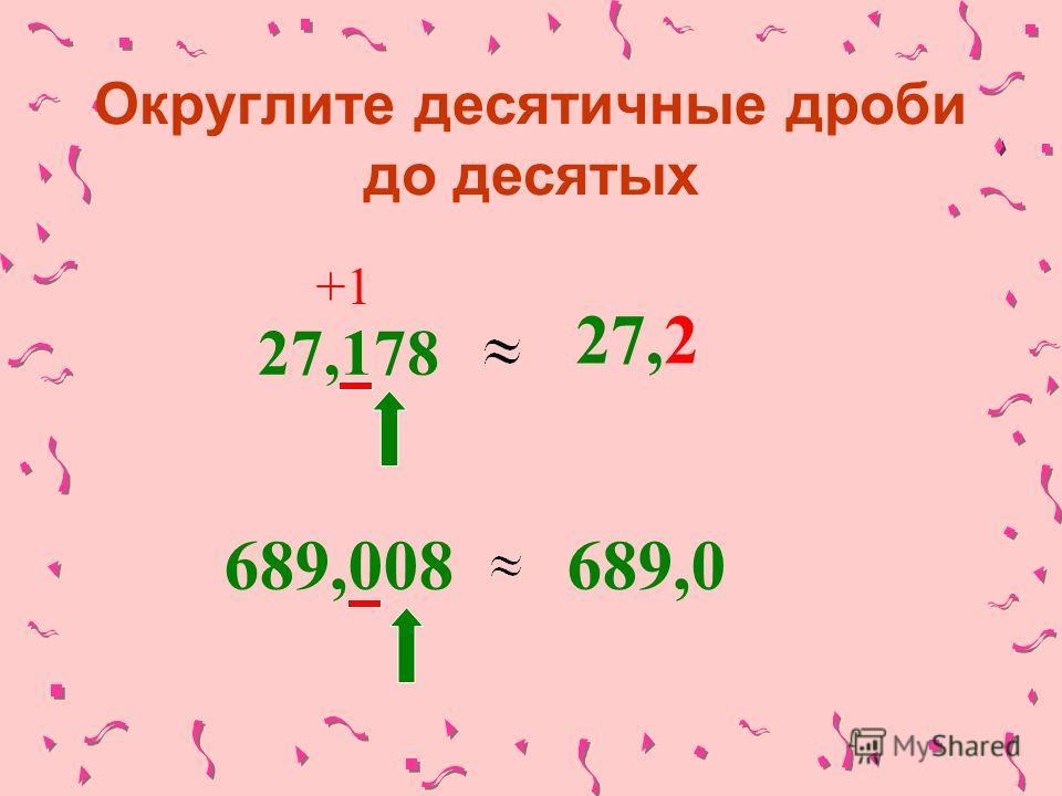 Округлите десятичные дроби до десятых 27,178 +1 27,2 689,008689,0