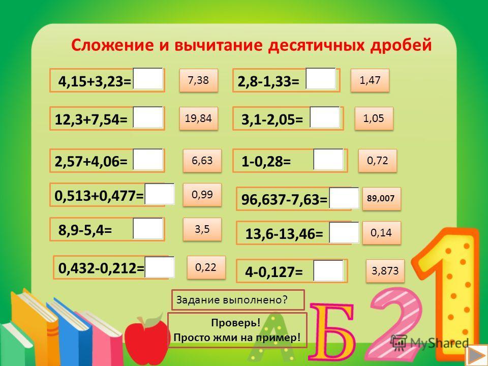 19,84 Сложение и вычитание десятичных дробей 4,15+3,23= 12,3+7,54= 2,57+4,06= 0,513+0,477= 8,9-5,4= 0,432-0,212= 2,8-1,33= 3,1-2,05= 1-0,28= 96,637-7,63= 13,6-13,46= 4-0,127= 6,63 0,99 3,5 0,22 1,47 1,05 0,72 89,007 0,14 3,873 7,38 Задание выполнено?