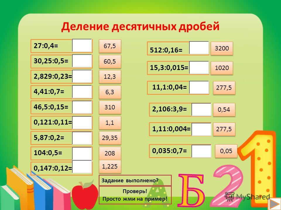 Деление десятичных дробей 27:0,4= 30,25:0,5= 2,829:0,23= 4,41:0,7= 46,5:0,15= 0,121:0,11= 5,87:0,2= 104:0,5= 0,147:0,12= 512:0,16= 15,3:0,015= 11,1:0,04= 2,106:3,9= 1,11:0,004= 0,035:0,7= Проверь! Просто жми на пример! Задание выполнено? 67,5 60,5 12
