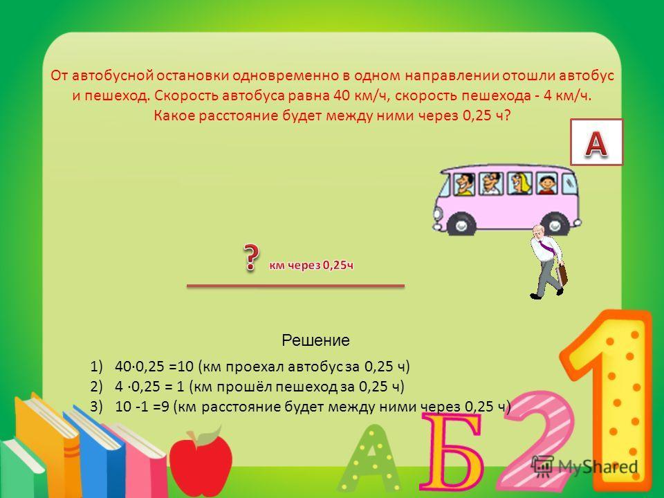 От автобусной остановки одновременно в одном направлении отошли автобус и пешеход. Скорость автобуса равна 40 км/ч, скорость пешехода - 4 км/ч. Какое расстояние будет между ними через 0,25 ч? 1)400,25 =10 (км проехал автобус за 0,25 ч) 2)4 0,25 = 1 (