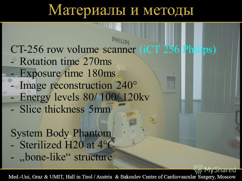 Med.-Uni, Graz & UMIT, Hall in Tirol / Austria & Bakoulev Centre of Cardiovascular Surgery, Moscow Материалы и методы CT-256 row volume scanner (iCT 256 Philips) -Rotation time 270ms -Exposure time 180ms -Image reconstruction 240° -Energy levels 80/