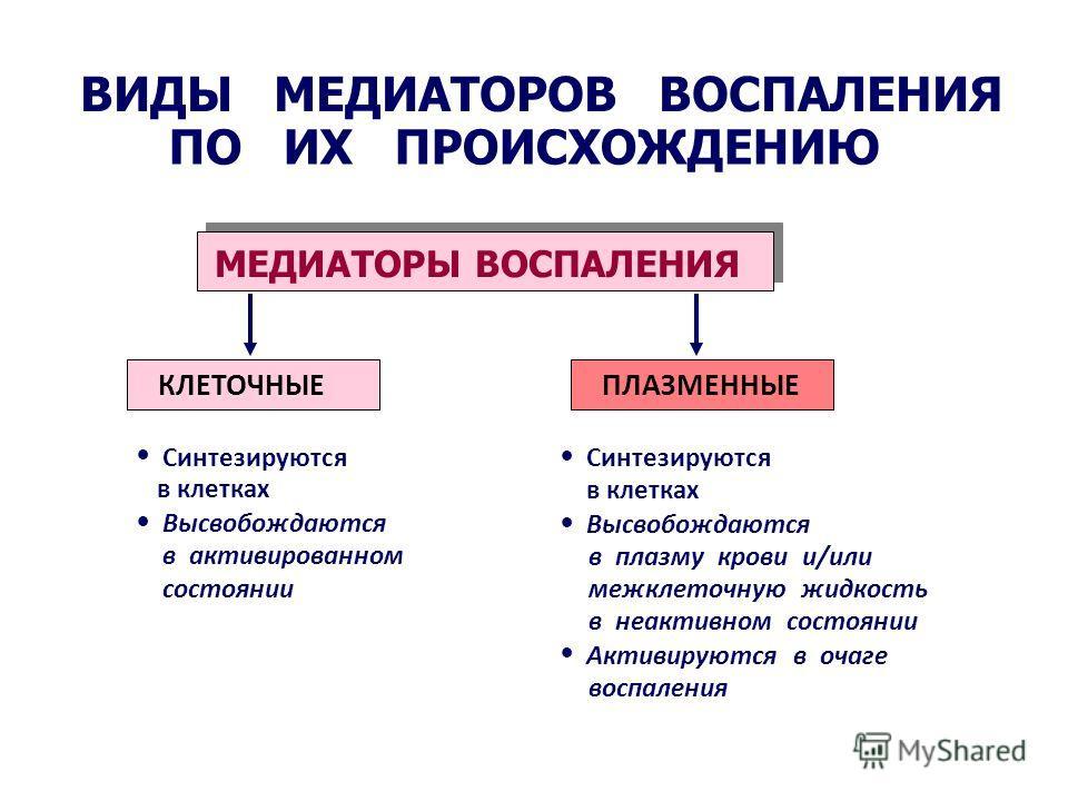 ВИДЫ МЕДИАТОРОВ ВОСПАЛЕНИЯ ПО ИХ ПРОИСХОЖДЕНИЮ МЕДИАТОРЫ ВОСПАЛЕНИЯ Синтезируются в клетках Высвобождаются в активированном состоянии Синтезируются в клетках Высвобождаются в плазму крови и/или межклеточную жидкость в неактивном состоянии Активируютс