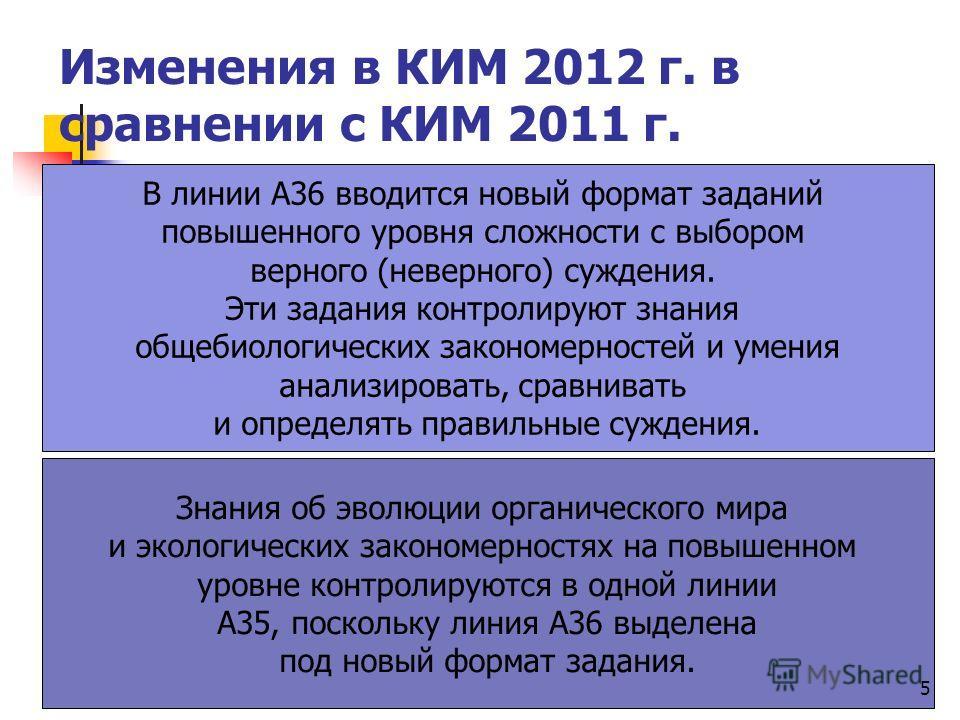 Изменения в КИМ 2012 г. в сравнении с КИМ 2011 г. В линии А36 вводится новый формат заданий повышенного уровня сложности с выбором верного (неверного) суждения. Эти задания контролируют знания общебиологических закономерностей и умения анализировать,
