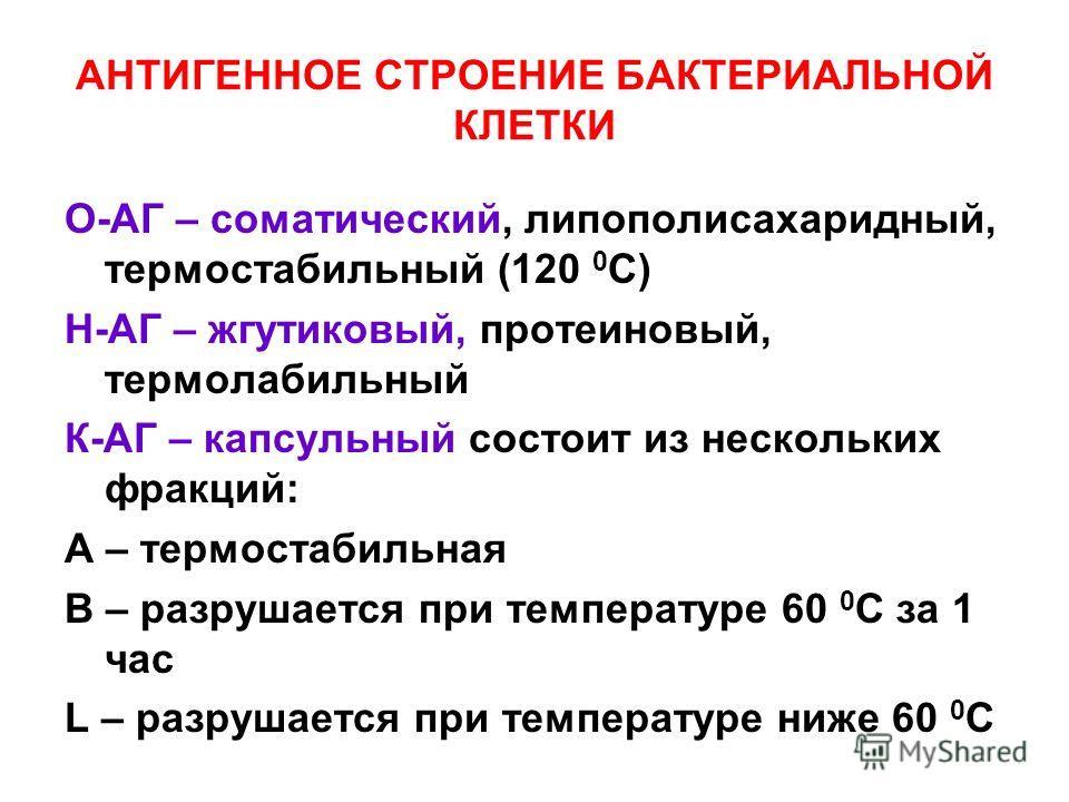 АНТИГЕННОЕ СТРОЕНИЕ БАКТЕРИАЛЬНОЙ КЛЕТКИ О-АГ – соматический, липополисахаридный, термостабильный (120 0 С) Н-АГ – жгутиковый, протеиновый, термолабильный К-АГ – капсульный состоит из нескольких фракций: А – термостабильная В – разрушается при темпер