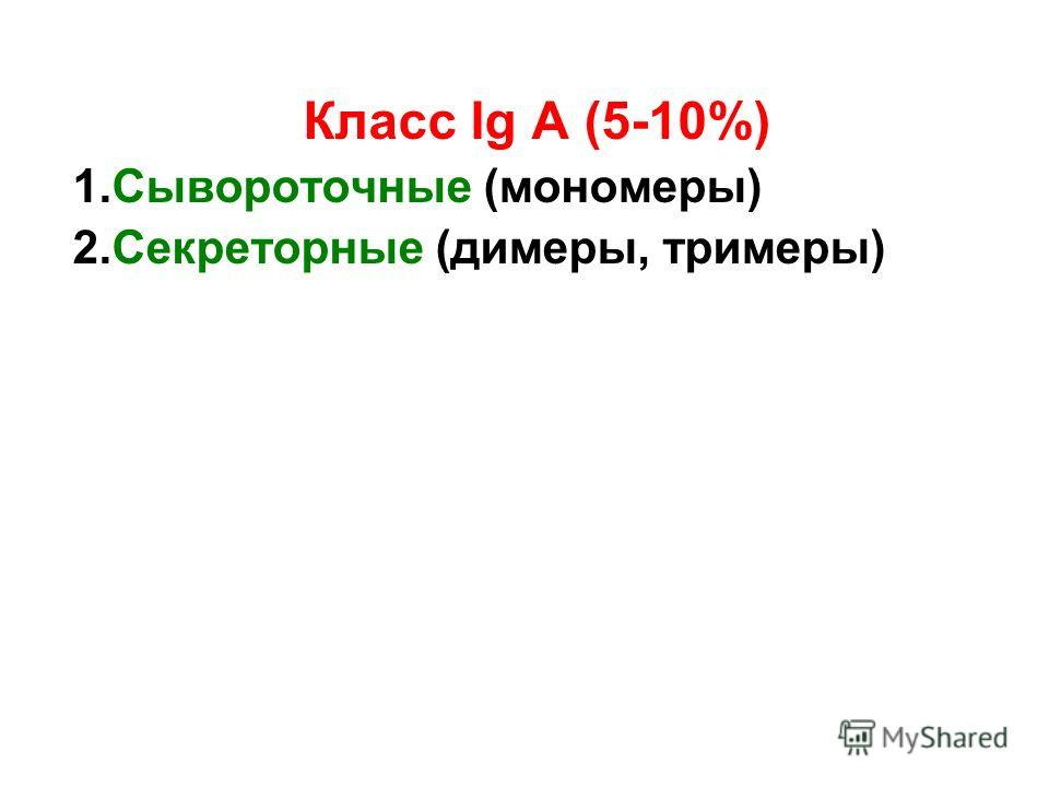 Класс Ig А (5-10%) 1. Сывороточные (мономеры) 2. Секреторные (димеры, триммеры)