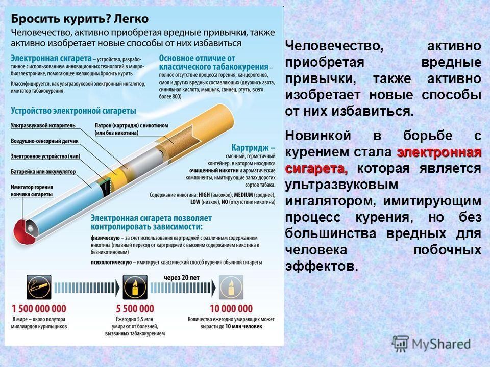 Человечество, активно приобретая вредные привычки, также активно изобретает новые способы от них избавиться. электронная сигарета, Новинкой в борьбе с курением стала электронная сигарета, которая является ультразвуковым ингалятором, имитирующим проце