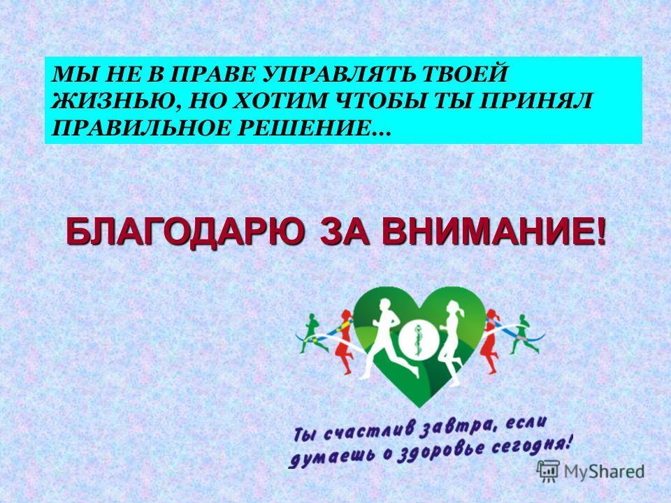 БЛАГОДАРЮ ЗА ВНИМАНИЕ! МЫ НЕ В ПРАВЕ УПРАВЛЯТЬ ТВОЕЙ ЖИЗНЬЮ, НО ХОТИМ ЧТОБЫ ТЫ ПРИНЯЛ ПРАВИЛЬНОЕ РЕШЕНИЕ…