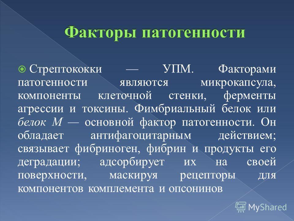 Стрептококки УПМ. Факторами патогенности являются микрокапсула, компоненты клеточной стенки, ферменты агрессии и токсины. Фимбриальный белок или белок М основной фактор патогенности. Он обладает антифагоцитарным действием; связывает фибриноген, фибри