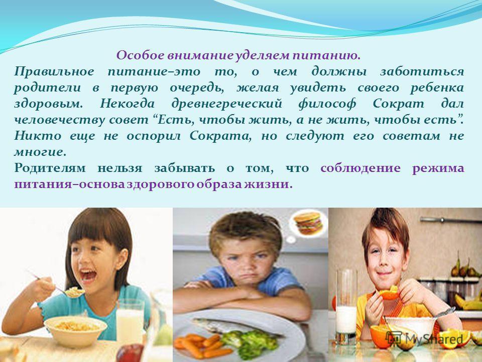 Особое внимание уделяем питанию. Правильное питание–это то, о чем должны заботиться родители в первую очередь, желая увидеть своего ребенка здоровым. Некогда древнегреческий философ Сократ дал человечеству совет Есть, чтобы жить, а не жить, чтобы ест