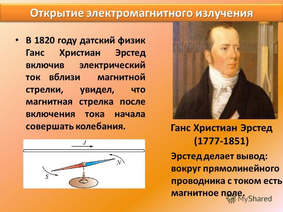 Открытие электромагнитного излучения В 1820 году датский физик Ганс Христиан Эрстед включив электрический ток вблизи магнитной стрелки, увидел, что магнитная стрелка после включения тока начала совершать колебания. Эрстед делает вывод: вокруг прямоли