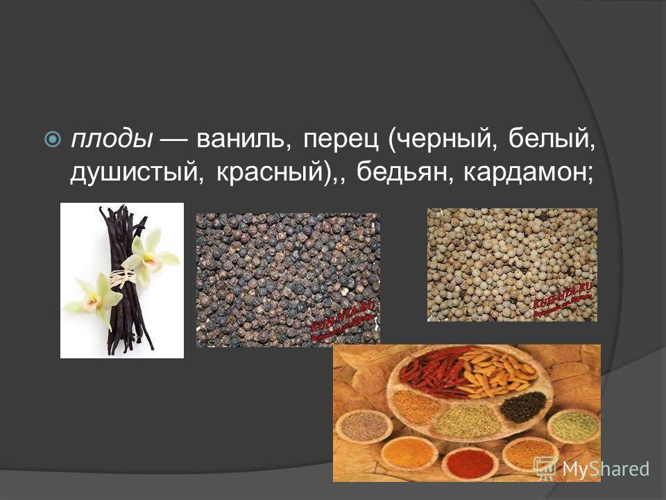 плоды ваниль, перец (черный, белый, душистый, красный),, бадьян, кардамон;