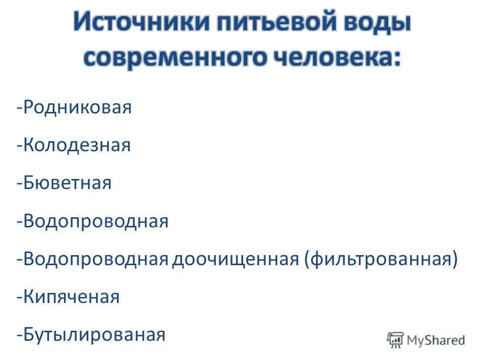 -Родниковая -Колодезная -Бюветная -Водопроводная -Водопроводная доочищенная (фильтрованная) -Кипяченая -Бутылированая