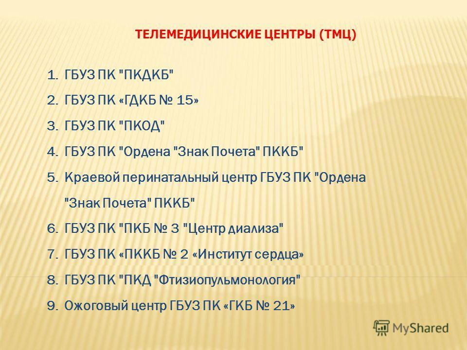 ТЕЛЕМЕДИЦИНСКИЕ ЦЕНТРЫ (ТМЦ) 1. ГБУЗ ПК