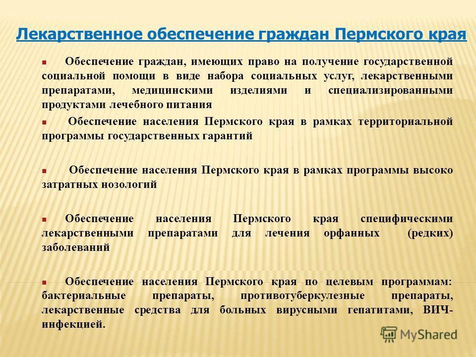 Лекарственное обеспечение граждан Пермского края Обеспечение граждан, имеющих право на получение государственной социальной помощи в виде набора социальных услуг, лекарственными препаратами, медицинскими изделиями и специализированными продуктами леч
