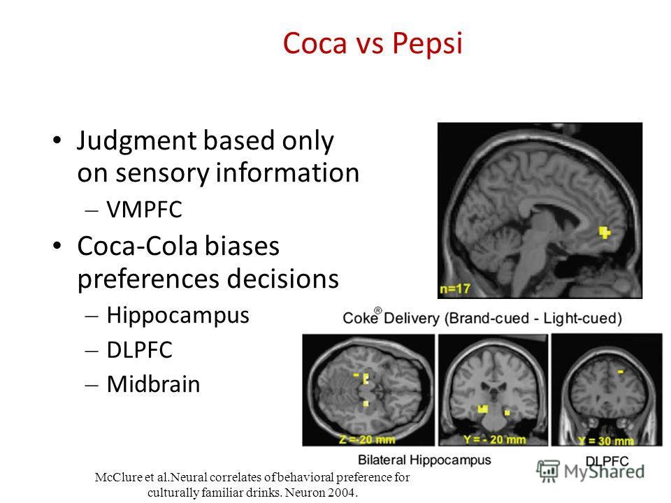 Judgment based only on sensory information – VMPFC Coca-Cola biases preferences decisions – Hippocampus – DLPFC – Midbrain McClure et al.Neural correlates of behavioral preference for culturally familiar drinks. Neuron 2004.