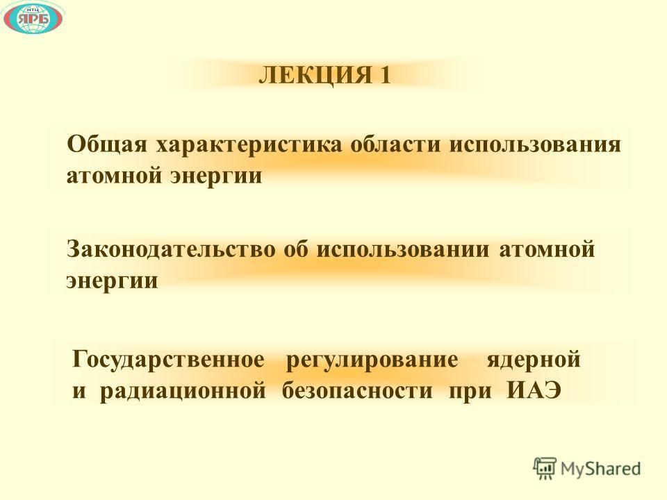 Общая характеристика области использования атомной энергии Законодательство об использовании атомной энергии Государственное регулирование ядерной и радиационной безопасности при ИАЭ ЛЕКЦИЯ 1
