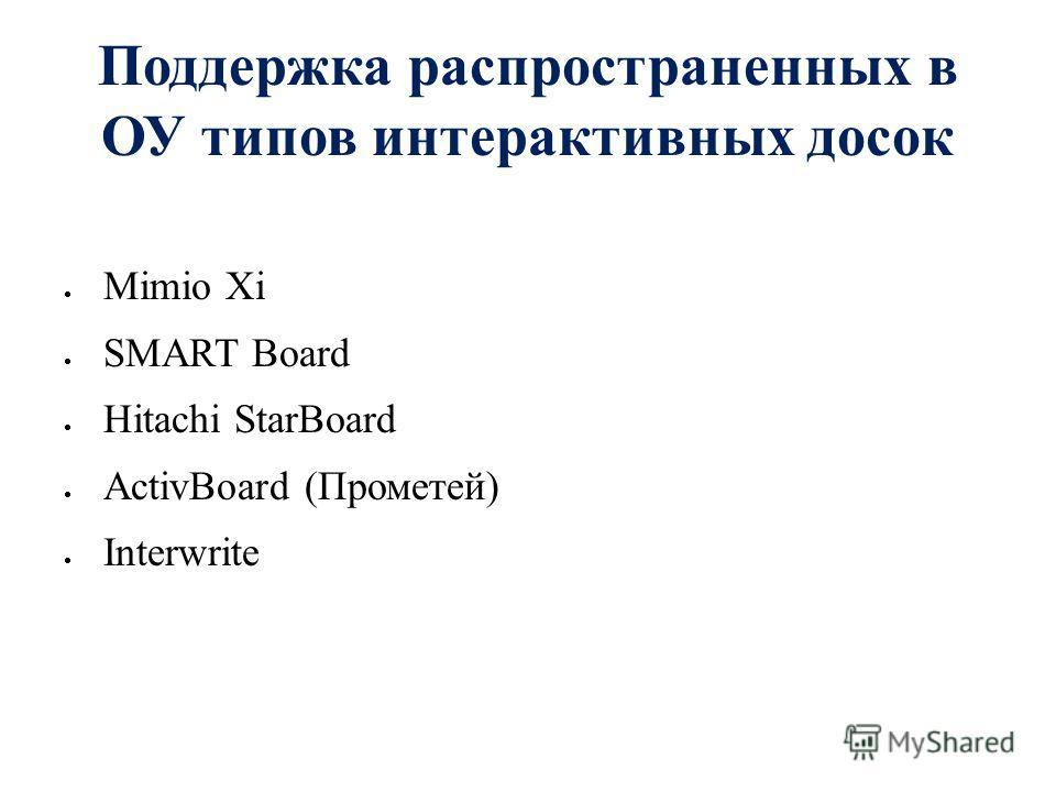 Поддержка распространенных в ОУ типов интерактивных досок Mimio Xi SMART Board Hitachi StarBoard ActivBoard (Прометей) Interwrite