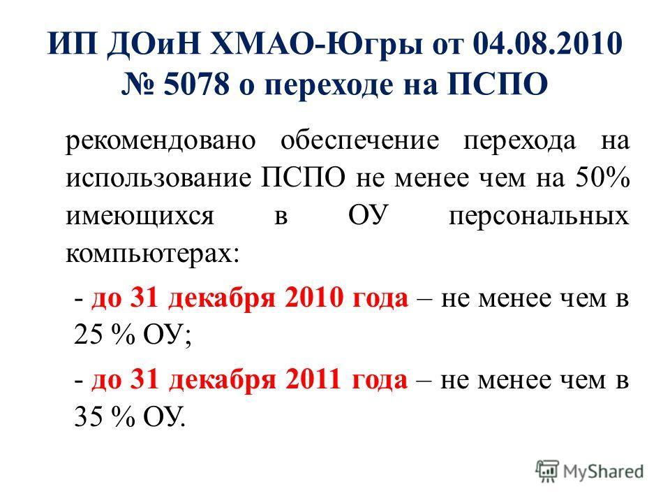 рекомендовано обеспечение перехода на использование ПСПО не менее чем на 50% имеющихся в ОУ персональных компьютерах: - до 31 декабря 2010 года – не менее чем в 25 % ОУ; - до 31 декабря 2011 года – не менее чем в 35 % ОУ. ИП ДОиН ХМАО-Югры от 04.08.2