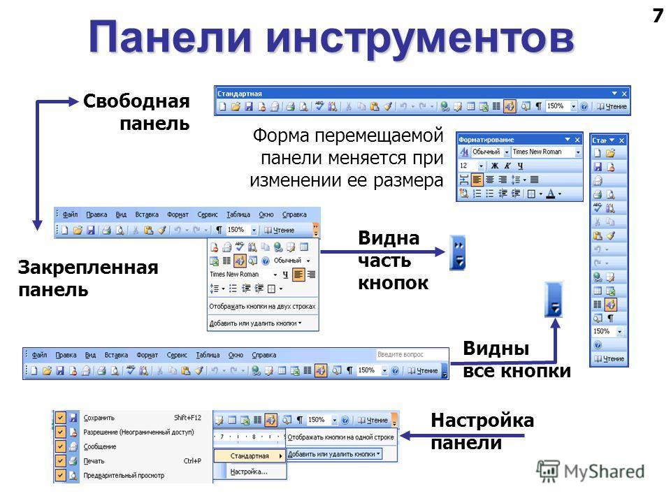 7 Форма перемещаемой панели меняется при изменении ее размера Свободная панель Видна часть кнопок Видны все кнопки Закрепленная панель Настройка панели Панели инструментов