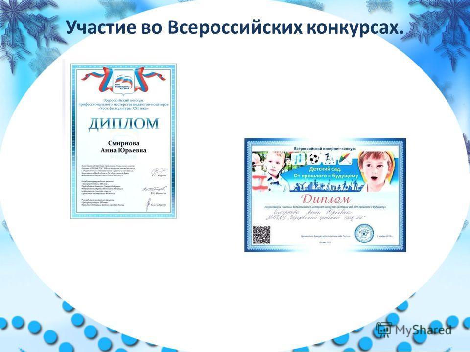 Участие во Всероссийских конкурсах.