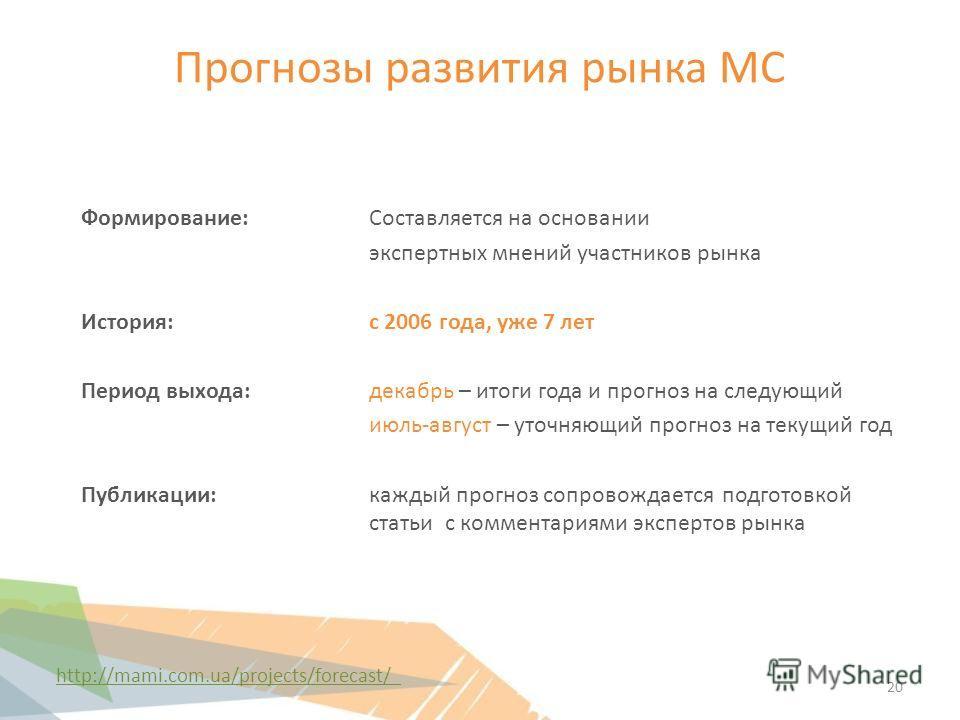 Прогнозы развития рынка МС http://mami.com.ua/projects/forecast/ Формирование:Составляется на основании экспертных мнений участников рынка История: с 2006 года, уже 7 лет Период выхода: декабрьрь – итоги года и прогноз на следующий июль-август – уточ