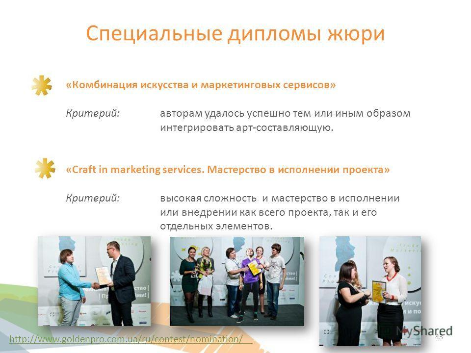 Специальные дипломы жюри «Комбинация искусства и маркетинговых сервисов» Критерий: авторам удалось успешно тем или иным образом интегрировать арт-составляющую. «Craft in marketing services. Мастерство в исполнении проекта» Критерий: высокая сложность