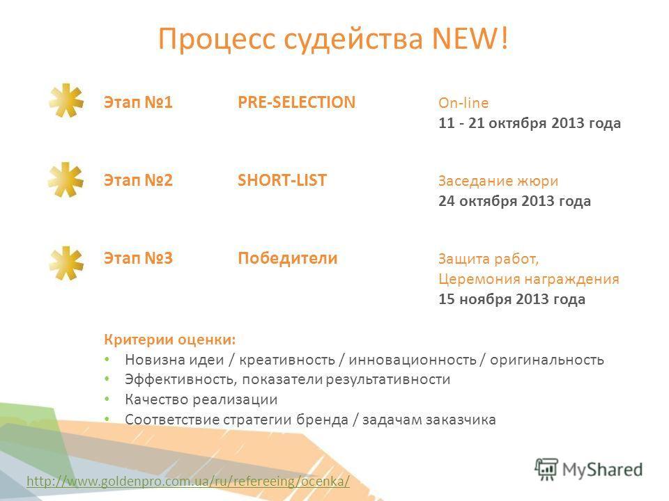 Процесс судейства NEW! Этап 1 PRE-SELECTION On-line 11 - 21 октября 2013 года Этап 2SHORT-LIST Заседание жюри 24 октября 2013 года Этап 3Победители Защита работ, Церемония награждения 15 ноября 2013 года Критерии оценки: Новизна идеи / креативность /