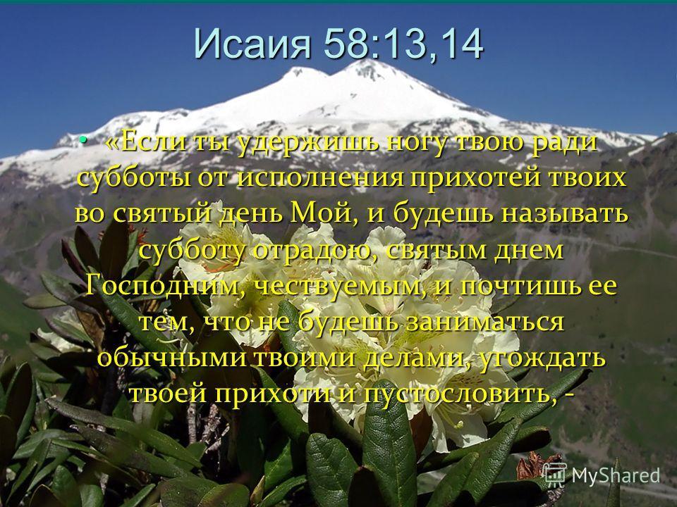 Исаия 58:13,14 «Если ты удержишь ногу твою ради субботы от исполнения прихотей твоих во святый день Мой, и будешь называть субботу отрадою, святым днем Господним, чествуемым, и почтишь ее тем, что не будешь заниматься обычными твоими делами, угождать